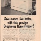 "1953 DEEPFREEZE HOME FREEZER ""SAVE MONEY"" Advertisement"