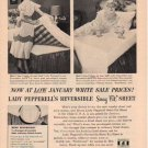 "1953 PEPPERELL FABRICS ""NO WRINKLES"" Advertisement"