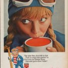"1967 CAMPBELL'S TOMATO SOUP Ad ""THE SKIER"""