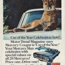 "1967 MERCURY COUGAR Ad ""CAR OF THE YEAR"""