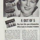 """1942 Forhan's Gum Cleaner Ad """"Tender, Bleeding Gums"""""""