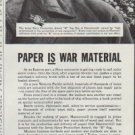 "1942 Hammermill Paper Company Ad ""Paper is War Material"""