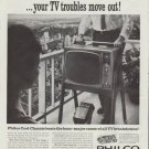 "1961 Philco Ad ""Philco Cool-Chassis TV moves in ... your TV troubles move out!"""