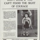 "1961 Easter Seal Fund Ad ""Don't look if you can't stand the sight of courage"""