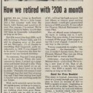 "1950 Phoenix Mutual Ad ""How we retired with $200 a month"""