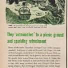 "1950 Clicquot Club Ad ""to a picnic ground and sparkling refreshment"""