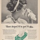 "1949 Pond's Tissues Ad ""Tissues designed to be good to skin"""