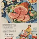 """1949 Armour Ad """"Happier Easter -- with America's Luxury Ham!"""""""