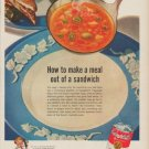 """1949 Campbell's Ad """"How to make a meal out of a sandwich"""""""