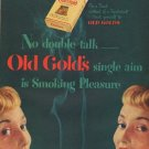 "1949 Old Gold cigarettes Ad ""No double talk"""