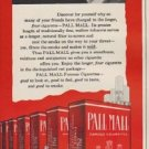 "1949 Pall Mall Ad ""greater length filters the smoke on the way to your throat"""