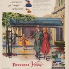 "1949 Firestone Ad ""tuck your raincoat in your pocket"""