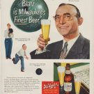 """1949 Blatz Beer Ad """"Blatz is Milwaukee's Finest Beer"""""""