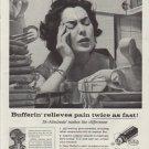 """1958 Bufferin Ad """"Bufferin relieves pain twice as fast!"""""""