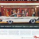 "1958 Plymouth Belvedere Ad ""The Broadway Look"""