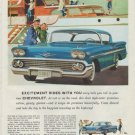 "1958 Chevrolet Impala Sport Coupe Ad ""Excitement Rides"""