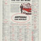 "1958 National Car Rentals Ad ""You Pay No More"""
