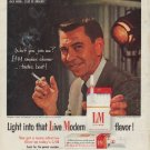 "1958 L&M cigarette Ad ""Jack Webb -- Star of Dragnet"""