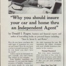 """1961 National Association of Insurance Agents Ad """"insure your car and home"""""""