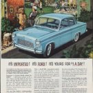 """1959 English Ford Line Ad """"It's Imported! It's Ford!"""""""