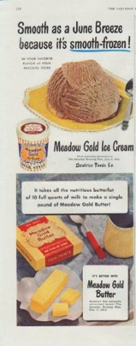 """1948 Meadow Gold Ad """"Smooth as a June Breeze"""""""