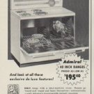 "1954 Admiral Electric Ranges Ad ""Value Leader"""
