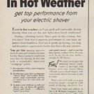 """1954 Lectric Shave Ad """"In Hot Weather"""""""