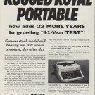 """1953 Royal Typewriter Ad """"Rugged Royal Portable"""""""