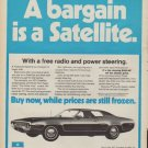 """1971 Plymouth Satellite (model year 1972) Ad """"A bargain is a Satellite."""""""