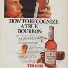 """1971 Ten High Bourbon Ad """"A True Bourbon"""""""