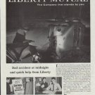 """1957 Libery Mutual Ad """"Bad accident at midnight"""""""