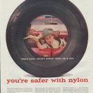 "1957 Chemstrand Nylon Ad ""when your child's safety rides on a tire"""
