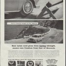 "1957 DuPont Ad ""nylon cord gives tires lasting strength"""
