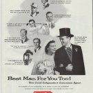 """1957 America Fore Ad """"Best Man For You Too!"""""""