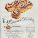 "1948 Marathon Protective Packaging Ad ""Fresh Cinnamon Rolls"""
