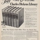 """1950 The Classics Club Ad """"Charles Dickens Library"""""""