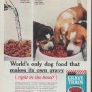 "1961 Gravy Train Dog Food Ad ""World's only dog food"""