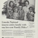 """1958 Lincoln National Life Insurance Ad """"Family Policy"""""""