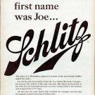 """1961 Schlitz Beer Ad """"His first name was Joe"""""""