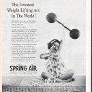 """1961 Spring Air Mattress Ad """"Weight-Lifting Act"""""""