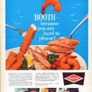 "1962 Booth Seafood Ad ""because you are hard to please"""