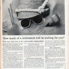 "1961 Members New York Stock Exchange Ad ""How much of a retirement"""