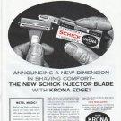 "1961 Schick Razor Ad ""New Krona Edge"""
