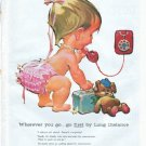 "1961 Bell Telephone System Ad ""go first by Long Distance"""