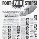 """1961 Dr. Scholl's Ad """"Foot Pain Stops"""""""
