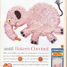 "1961 Baker's Coconut Ad ""pink elephant"""