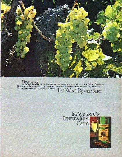 """1979 Ernest & Julio Gallo Ad """"nature provides"""""""