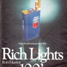 "1979 Viceroy Cigarettes Ad ""Rich Lights"""