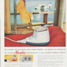 """1959 Norelco Shaver Ad """"stroke off whiskers"""""""