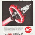 """1959 AC Spark Plugs Ad """"Fire-Ring Spark Plugs"""""""